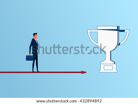 Businessman standing on arrow graph approach to trophy and success, opportunities, future business trends. Cartoon Vector Illustration. - stock vector