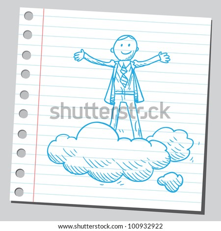 Businessman standing on clouds