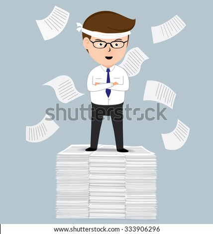 Businessman standing on pile of paper, business concept, vector 10 - stock vector