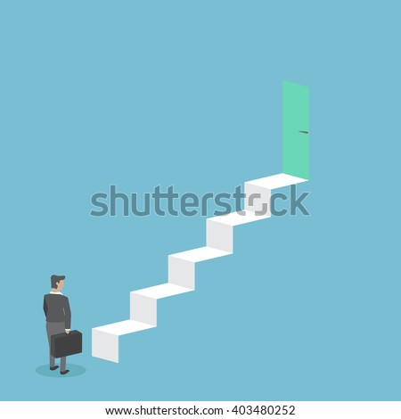 Businessman standing on stairs - stock vector
