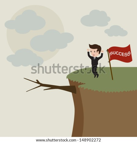 Businessman standing on the high mountain. Businessman and solution. Vector - stock vector
