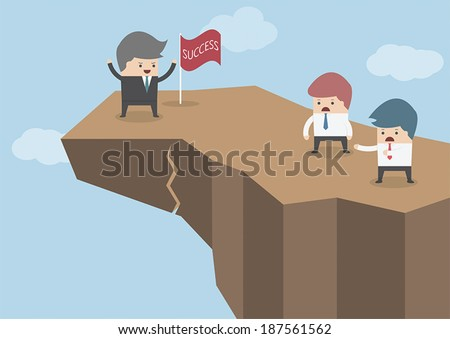 Businessman standing on the top of the dangerous cliff, Business risks concept, VECTOR, EPS10 - stock vector