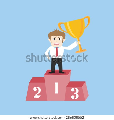 businessman standing on the winning - stock vector