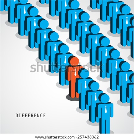 Businessman standing out from the crowd. Business idea and difference concept. Vector illustration - stock vector