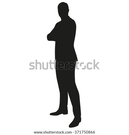 Businessman standing with arms folded, side view. Vector silhouette