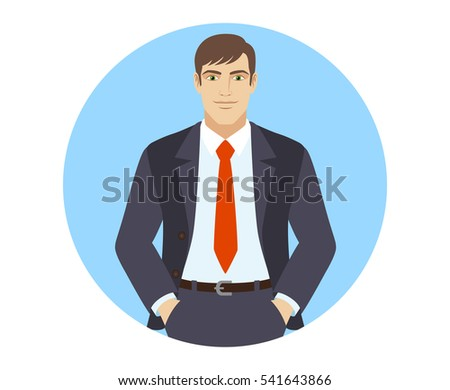 Businessman standing with hands in pockets.  Portrait of businessman in a flat style. Vector illustration.