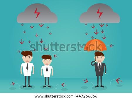 Businessman standing with umbrella in down arrow rain. cartoon character business concept - stock vector