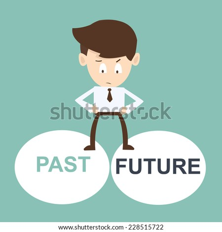 businessman stands between past and future - stock vector