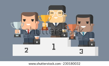 Businessman stands on pedestal and holds ?up - stock vector