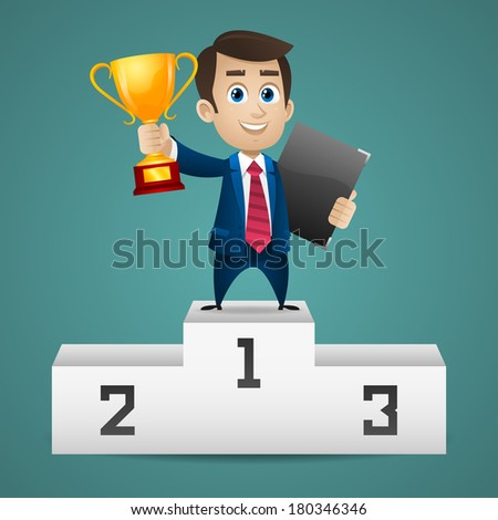 Businessman stands on pedestal holds cup - stock vector