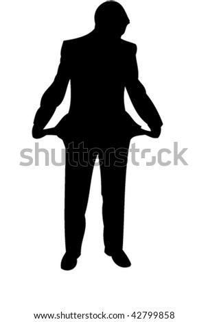Businessman stay with empty pockets. Icon. Vector - stock vector