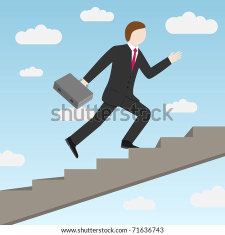 Businessman stepping up the stairs, carrying briefcase. Vector illustration