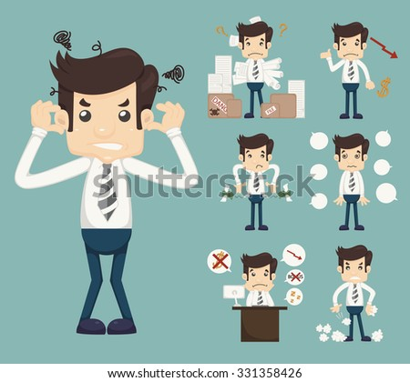 Businessman Stress Pressure Workplace Stick  , eps10 vector format - stock vector