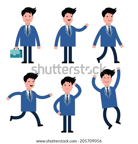 Businessman, suit man, in various poses, isolated on white set one.  - stock vector