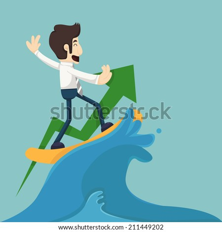 Businessman surfing on wave , eps10 vector format
