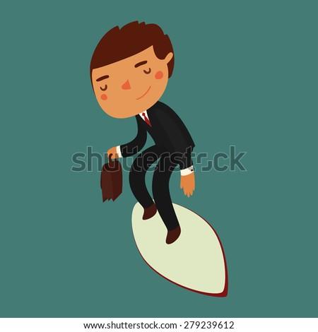 businessman surfing. vacation character. vector illustration - stock vector