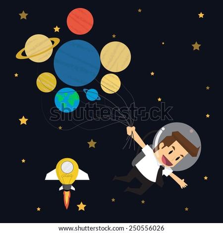 businessman survey cosmos 7 planet 7 day.vector - stock vector