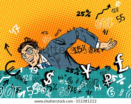 Businessman swimming in money business concept Finance banks in the market. Retro style pop art - stock vector
