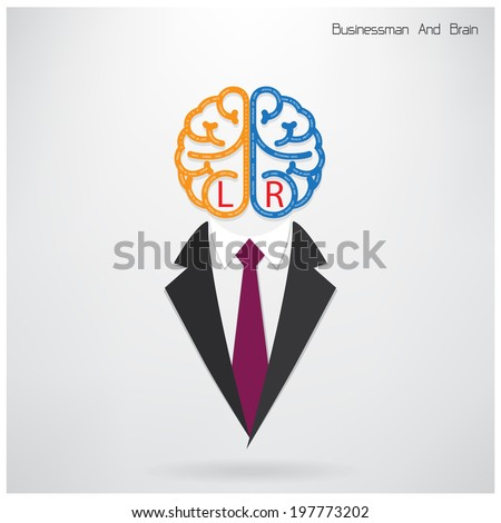 businessman symbol with left and right brain sign ,design for poster flyer cover brochure,education concept ,business idea .vector illustration - stock vector