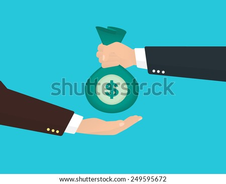 Businessman takes bag of money from another businessman - stock vector