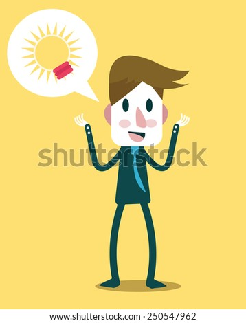 Businessman talking about his Idea. flat design character. vector illustration - stock vector