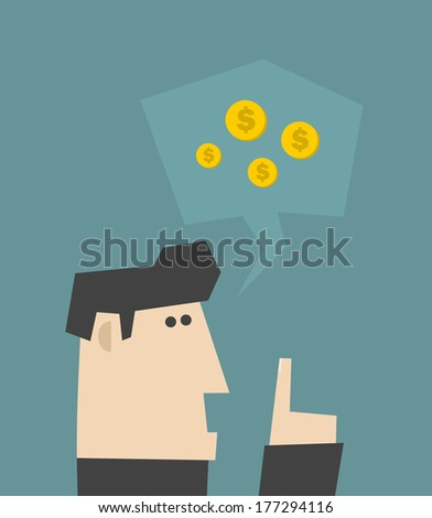 Businessman talking about money. Vector illustration. - stock vector