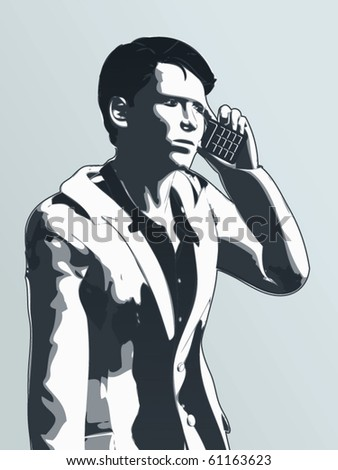 businessman talking on the phone - stock vector
