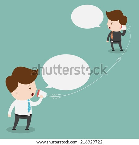 Businessman talking with cup telephone. - stock vector