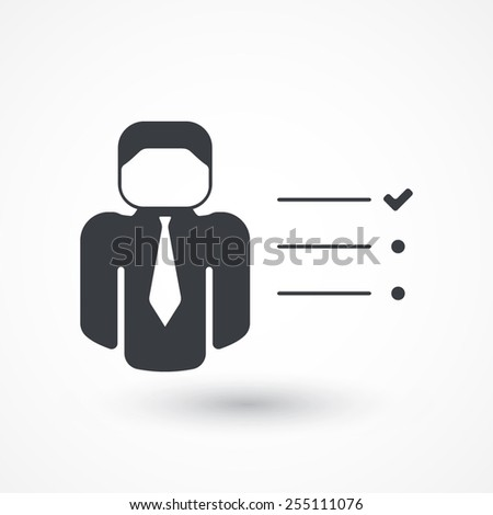 Businessman tasks items list icon. Checking mark checklist marker isolated - stock vector