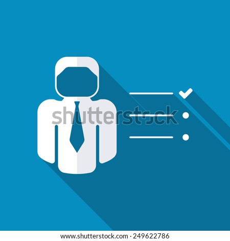 Businessman tasks items list icon. Checking mark checklist marker Isolated on blue background - stock vector