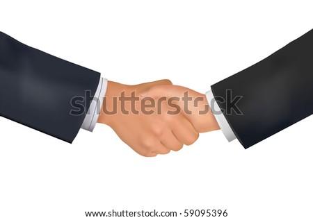 Businessman teamwork partners shaking hands. Vector. - stock vector