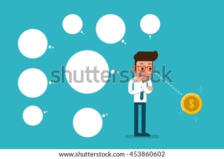 Businessman Thinking ideas, flat style cartoon. - stock vector