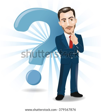 Businessman Thinking with Big Question Mark Background - stock vector