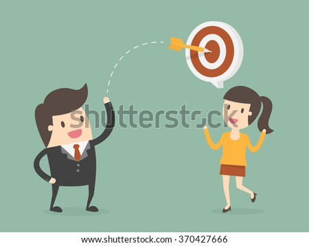 Businessman Throw a Dart Into Target On Customer.Business Concept Cartoon Illustration.