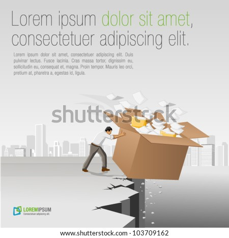 Businessman throwing away a box with papers and files - stock vector
