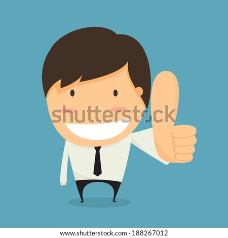 Businessman thumbs up. like concept vector. - stock vector
