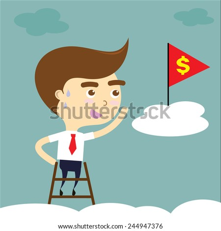 businessman tired to reach target with red flag and yellow dollar sign vector