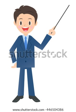 Businessman to explain with a pointing stick, male company employee of illustration material