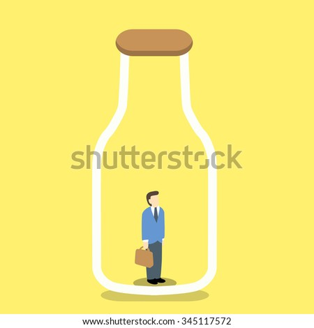 businessman trapped in a clear glass bottle - stock vector