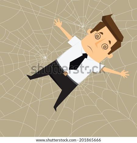 Businessman Trapped in webs - stock vector