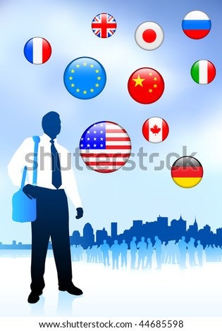 Businessman Traveler with Skyline and Internet Flag Buttons Original Vector Illustration - stock vector