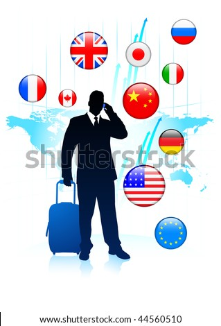 Businessman Traveler with Sworld map and Internet Flag Buttons Original Vector Illustration - stock vector