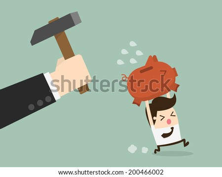 businessman try to brake piggybank - stock vector