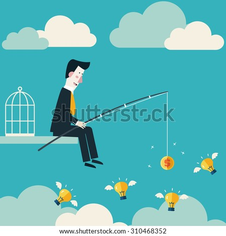 Businessman try to catch flying idea with fishing rod. Innovation, strategy and investment concept. Idea attracting money and money attracting ideas. Money making ideas concept. Vector modern design - stock vector
