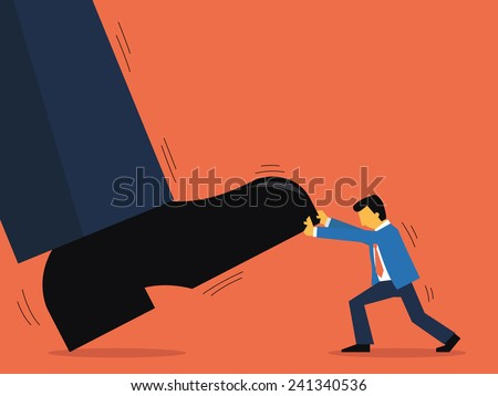 Businessman try to pull up giant man's shoe, abstract illustration representing to small entrepreneur able to compete with big business. Flat design.  - stock vector