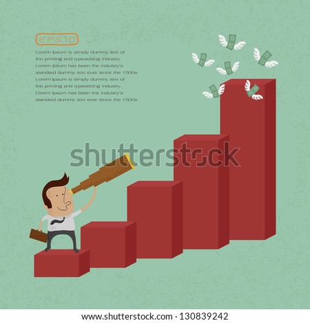 businessman using a telescope on a bar chart , eps10 vector format - stock vector