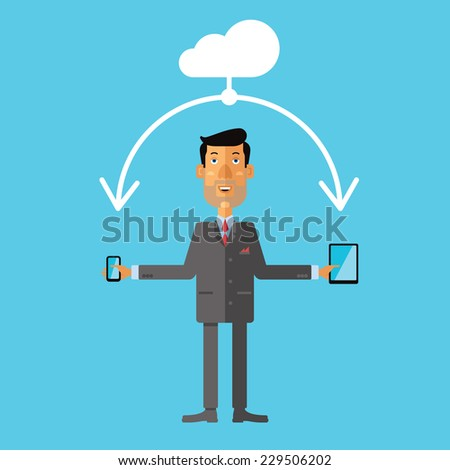 Businessman using cloud storage for smart phone and tablet. Vector illustration in flat design style. - stock vector