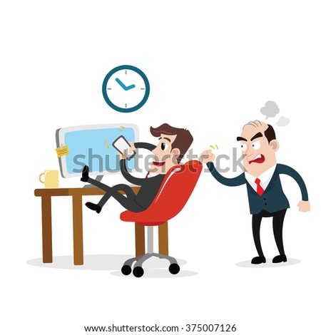 Businessman using mobile phone at work - stock vector