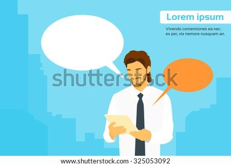 Businessman Using Tablet Computer Send Message Internet Chat Communication Flat Vector Illustration - stock vector