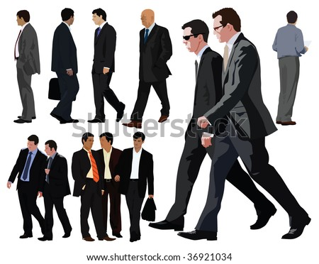 Businessman vector color illustration. Twelve persons. Between them two couples. Realistic graphic with color clothes and faces. - stock vector
